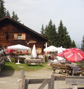 Our mid-hike chalet stop.