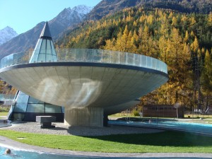 One of the swimming pods in a stunning Austrian autumn setting