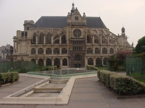 Saint-Eustache and adjacent gardens just down the street from our hotel