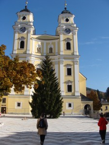 The church where the wedding was held. We stopped here at Mondsee for a walk around the lake town and tasty treat.