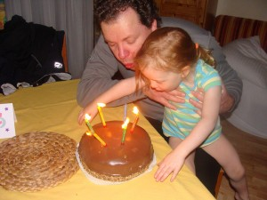 Blowing out the candles. (Annie as usual, is featuring her no-pants look frequently seen these days.)