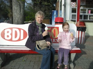 And, of course, eating ice-cream and that most famous Winnipeg spot, the BDI. As you can see from the clothes, it wasn't that warm...but what has that to do with eating ice-cream?